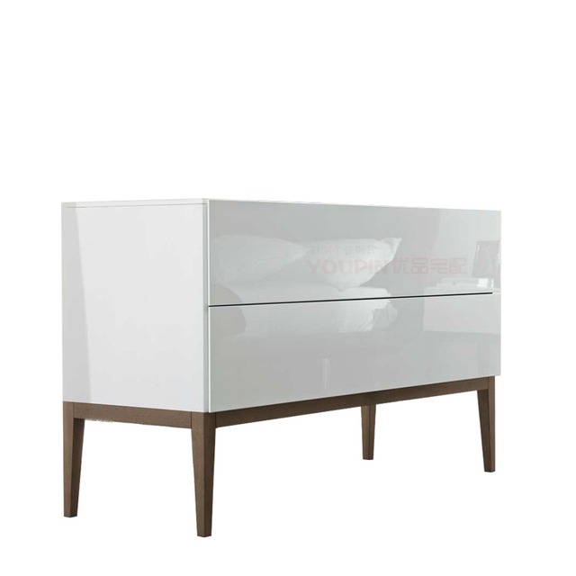 High gloss white paint cabinet Sideboard wood tripod modern ...