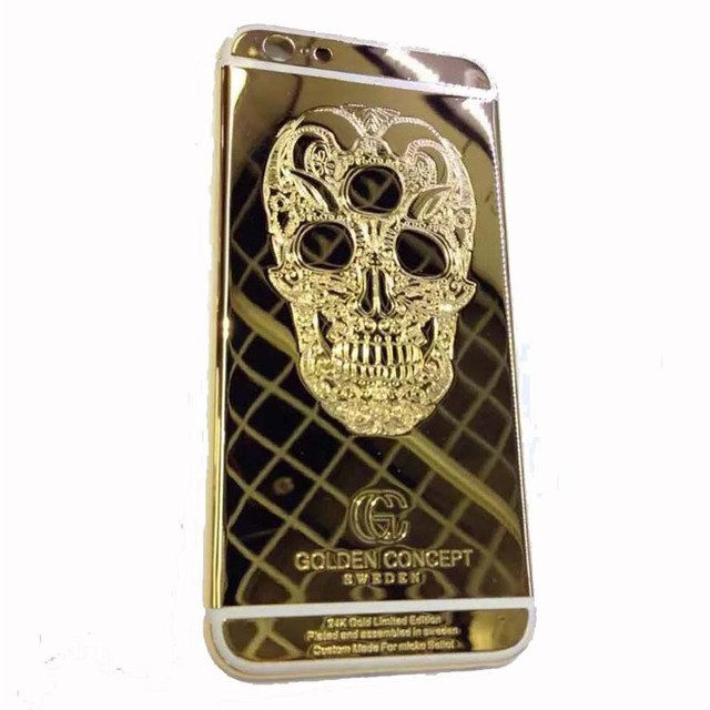 "For iPhone 6 Plus/6S Plus 5.5"" 24K Gold/Silver Plated Back Cover Housing Replacement Mid Frame with Logo&Buttons, Free Shipping"
