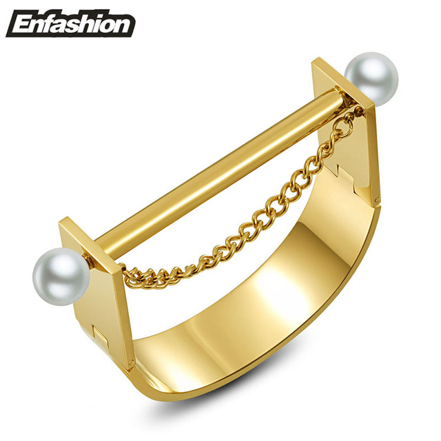 Modern Wide U cuff bracelet with flat bar and chain pearl 24k gold plated bangle stainless steel bangles women bracelets