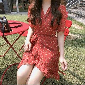 floral print red New Summer Women Dress Knee-Length Dress Short Sleeve Dresses Femme Elegant Dresses V Neck  Robe Femme Vestido elegant scoop neck abstract print short sleeve dress for women