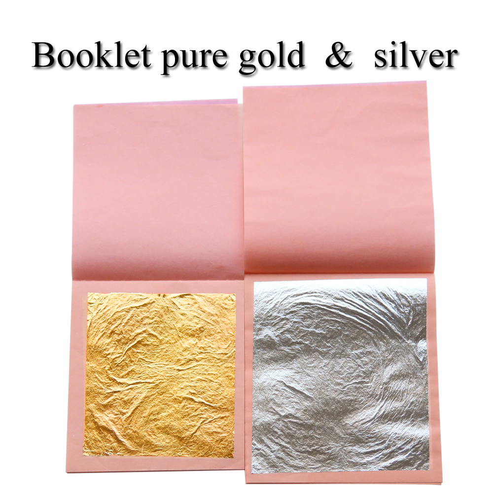 Edible Genuine gold foil and Genuine silver leaf 2 booklets 50pcs 24K real gold leaf foil