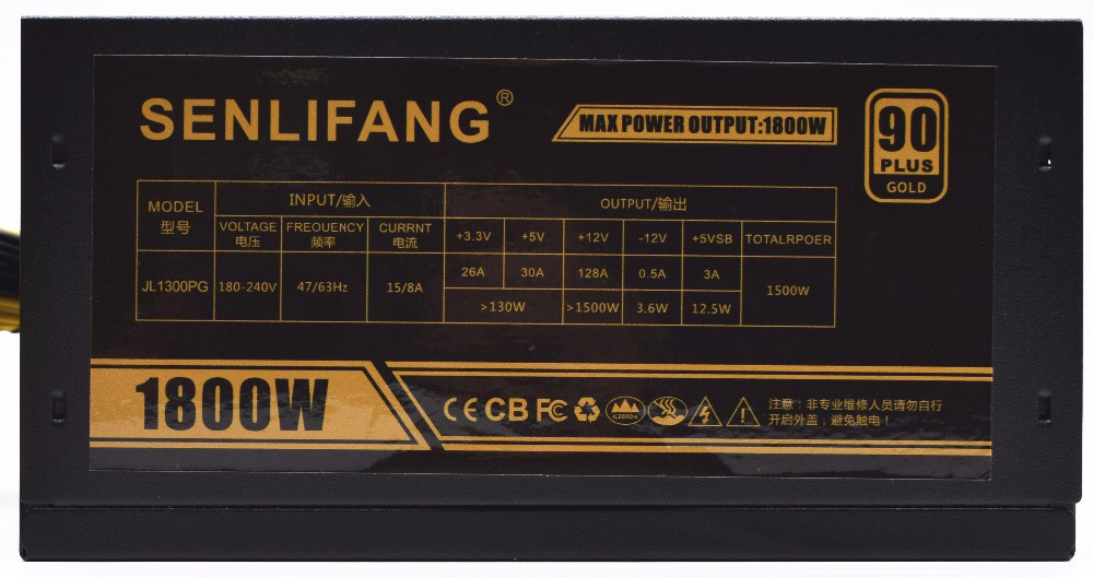 1800 W alimentation minière 12 V 150A adapté pour mineur R9 380/390 RX 470/480 RX 570/580 6 cartes GPU 90 PLUS or