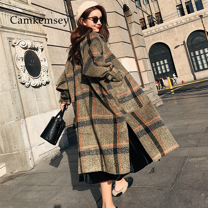 CamKemsey 2019 New Women Warm Winter Cashmere Coat Ladies Work Office Elegant Vintage Plaid Long Wool