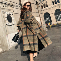 CamKemsey 2019 New Women Warm Winter Cashmere Coat Ladies Work Office Elegant Vintage Plaid Long Wool Blends Coats
