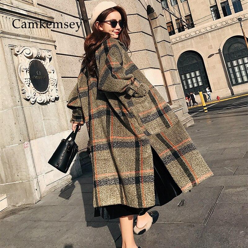 CamKemsey 2019 Nouvelles Femmes Chaud Hiver Cachemire Manteau Dames Travail Bureau Élégant Vintage Plaid Longue Laine Mélanges Manteaux