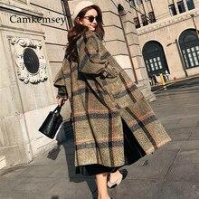 CamKemsey 2019 nouveau femmes chaud hiver cachemire manteau dames travail bureau élégant Vintage Plaid Long laine mélanges manteaux