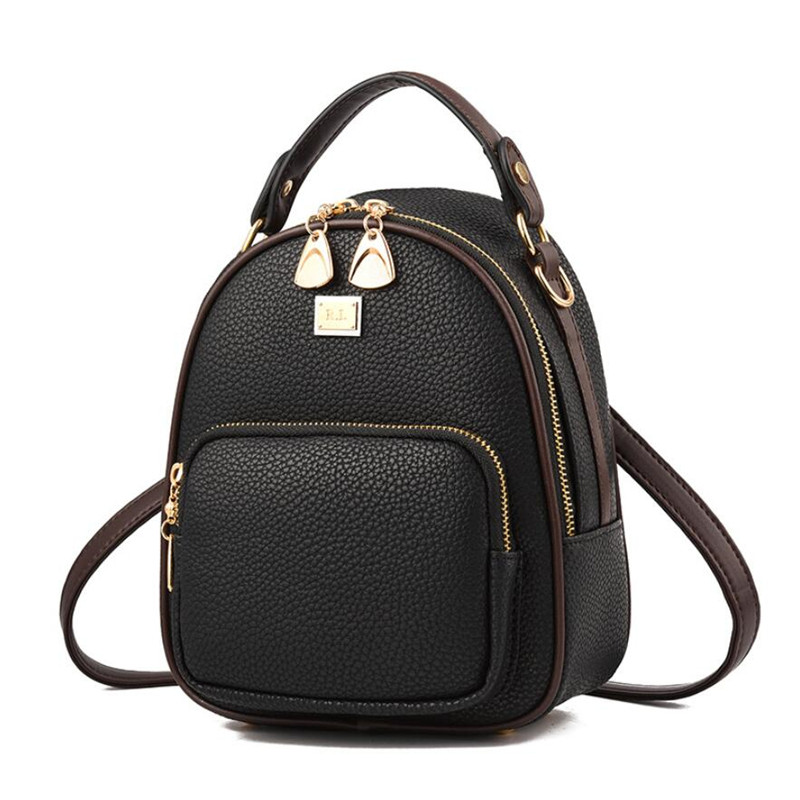 2018 New Leather Small Women Backpacks Zipper Shoulder Bag Female Phone Bags Lady Portable Backpack for