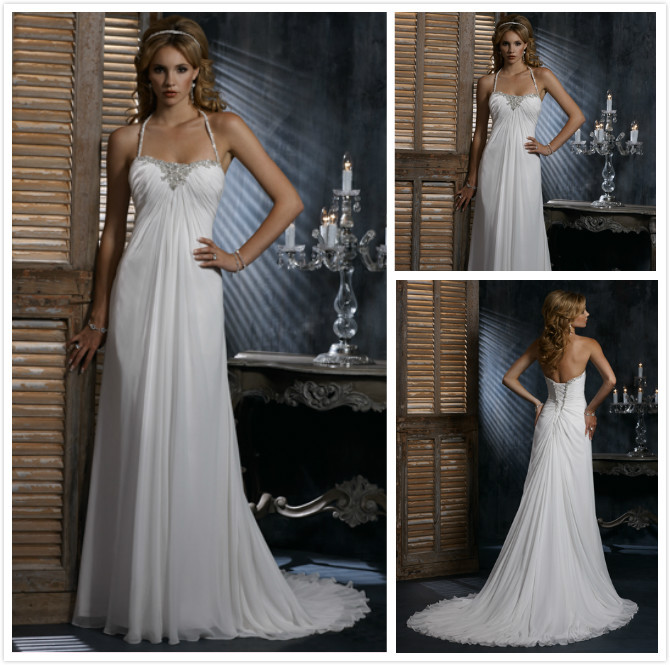 Us 198 99 Very Sexy New Style China Custom Made Chiffon Vintage Halter Top Low Back Beach Wedding Gown Dresses For Pregnant Women Brides In Wedding