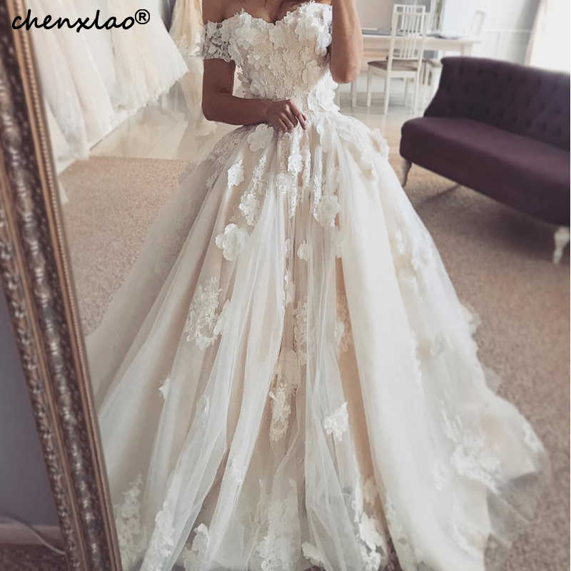 Wedding Dresses Off The Shoulder Short Sleeves Lace 3D Flower Floor Length Wedding Dress 2019 Bridal Gowns Vestido De Noivas