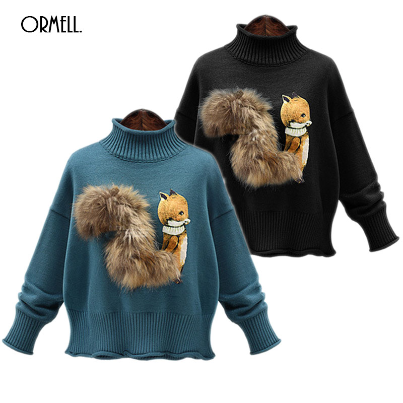 30ef22bbe6e72 ORMELL Fox Print High Neck Knitted Sweater Women Cute 2017 Warm Long Sleeve  Pullover Female Soft Black Jumper Plus Size-in Pullovers from Women s  Clothing ...