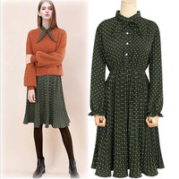 European Station 2017 Spring Women S New Long Sleeve Loose Big Yards Chiffon Female Polka Dress