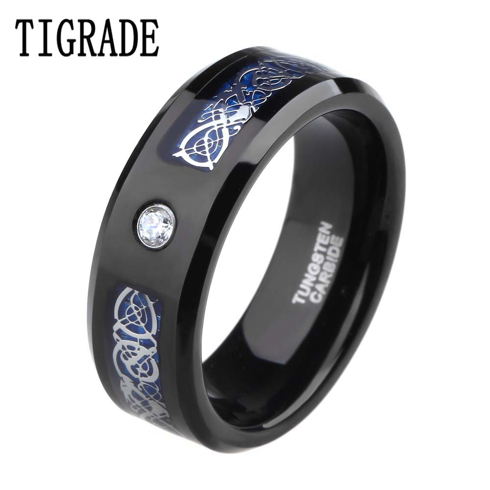 8mm Cubic Zirconia Blue Carbon Celtic Dragon Tungsten Carbide Ring Men Engagement Wedding Band Rings of