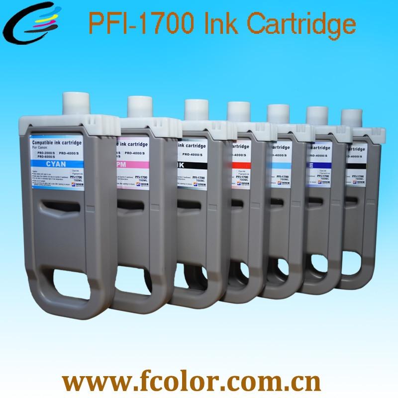 700 ml Cartouche D'encre PFI-1700 PFI1700 Cartouches Pour Canon Pro-4000s Pro-6000s Imprimante Remplacer Réservoir D'encre