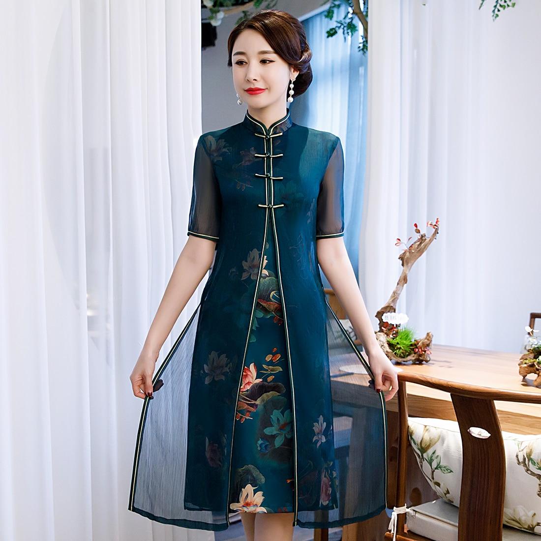 Retro Handmade Button Chinese Women Qipao Elegant Summer Print Flower Cheongsam Oversize Oriental Evening Party Dress
