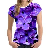 Fashion Purple lilac 3D Flower Women T shirt Summer Slim Tops Crop Ladies Bodybuilding Elastic Tshirt Female Clothes Casual