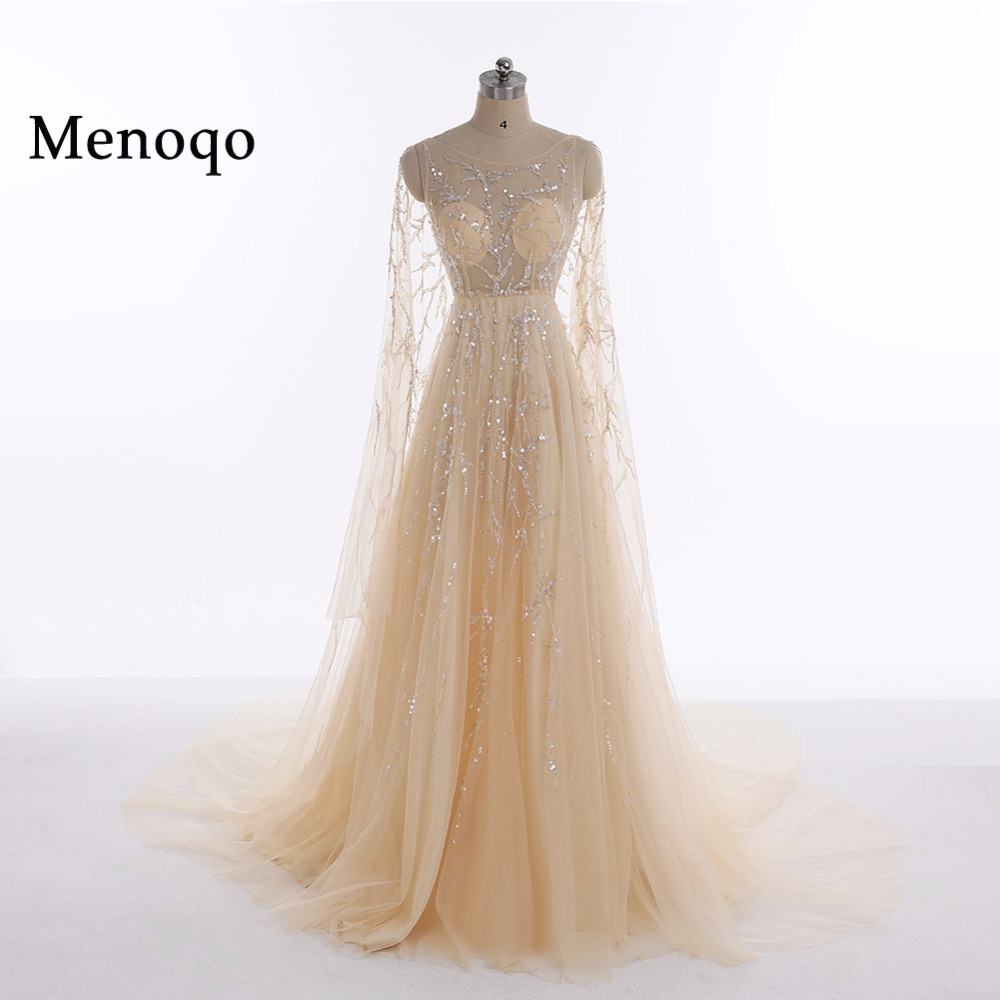 A Line Elegant Prom dresses Long with Watteau Train Beaded Tulle ...