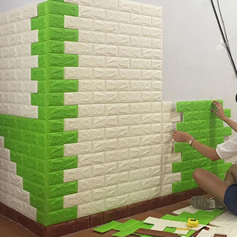 Creative PE Foam 3D Wall Stickers Safty Home Decor Wallpaper DIY Wall Decor Brick Protect Living Room Kids Bedroom Sticker
