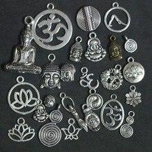 Mixed Fertility Goddess Buddha Lotus OHM OM 3D Yoga Pendant Charms For Jewelry Making DIY Handmade Buddhism Jewelry Accessories