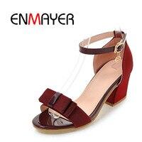 ENMAYER New Summer Women Sandals Round Toe Buckle Strap Women's Square Heel Sandals High Heel Women Shoes Summer Purple WHY45