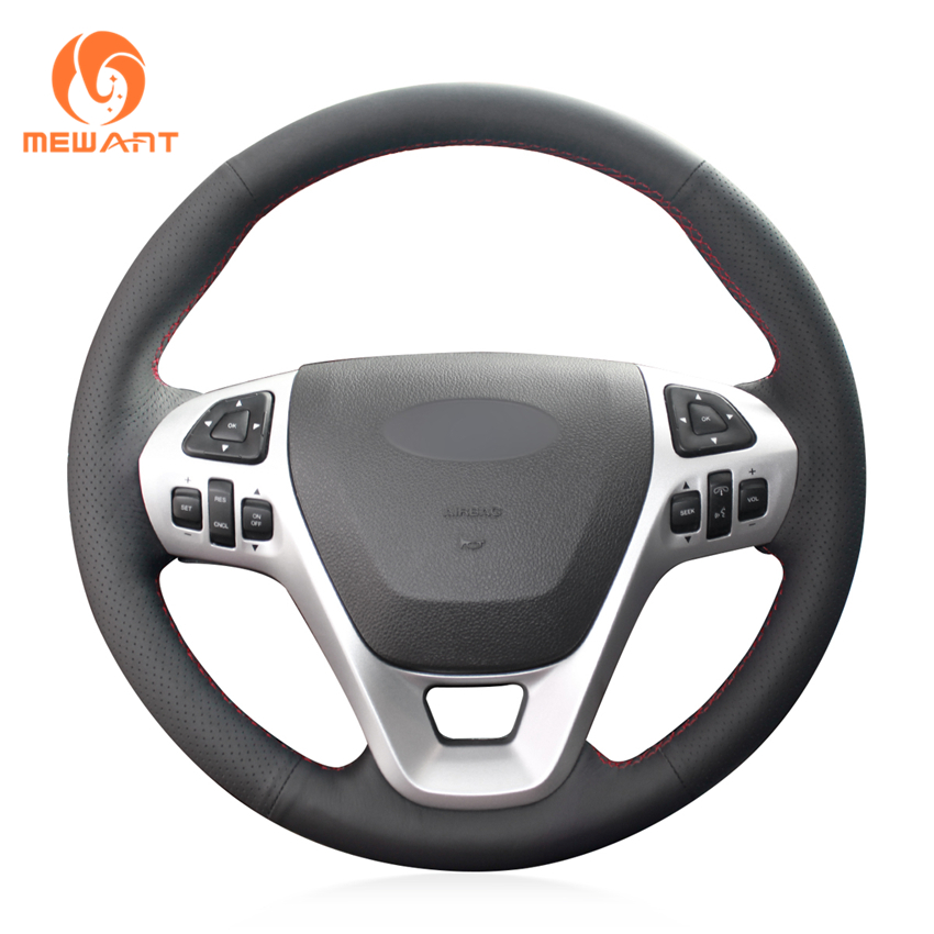 MEWANT Black Genuine Leather Car Steering Wheel Cover for Ford Explorer 2011 2019 Taurus 2013 2019