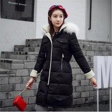 Высокое Качество Женская Вниз Пальто 2016 Корейских Новая Мода Длинный отрезок Хлопок Пуховик 4 Цвет