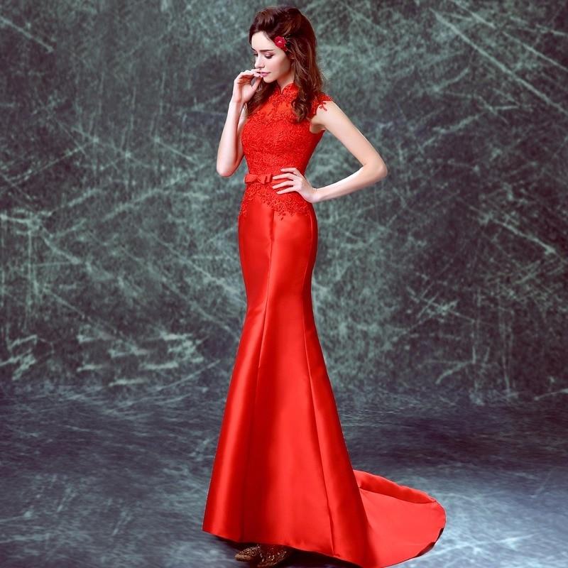 appliques de dentelle rouge satin sirène Trailing cheongsam de style - Vêtements nationaux - Photo 3