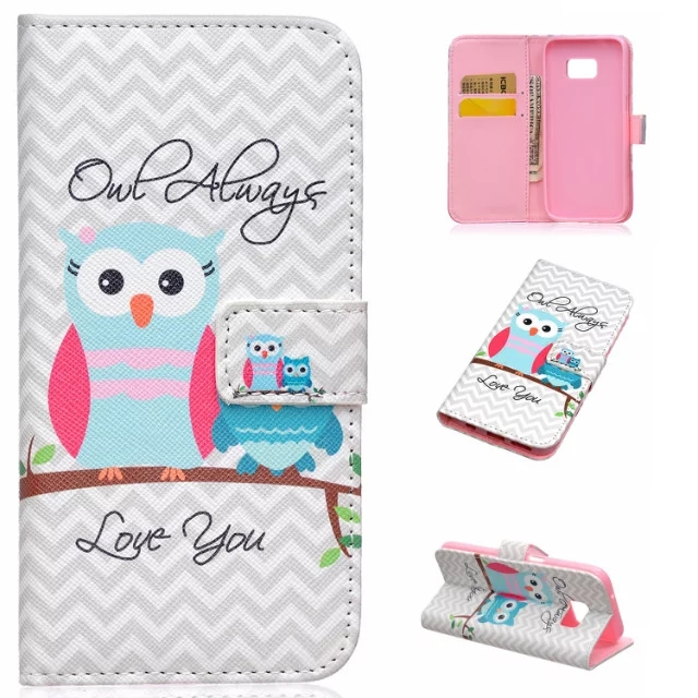 2016 New Hot cute Owl Luxury Bag Card Holder PU Leather Wallet Phone Case Stand Flip Cover for Samsung Galaxy S7/S7edge