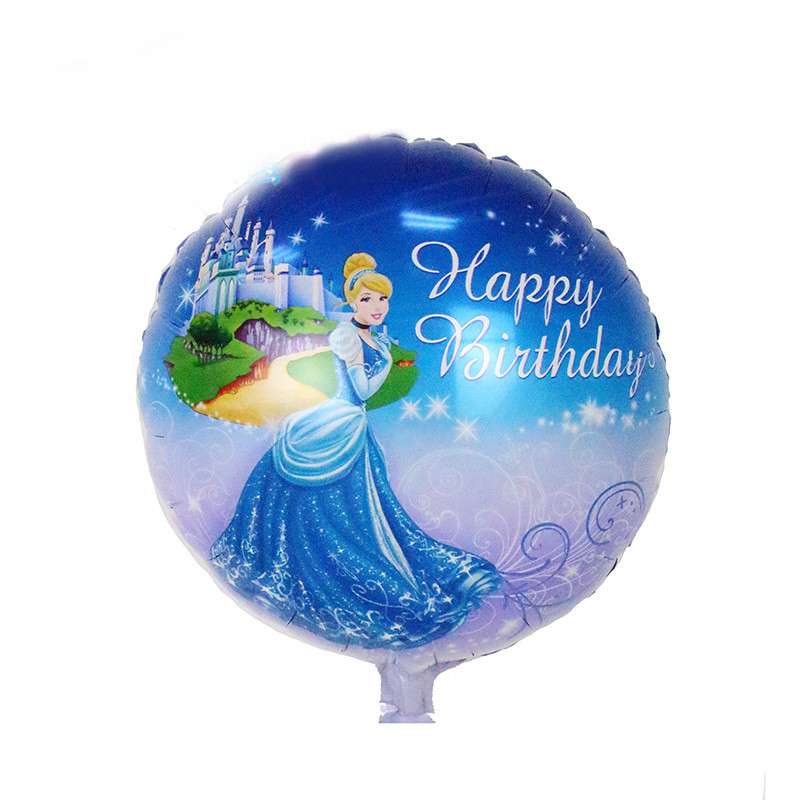 2pcs <font><b>18</b></font> Inch <font><b>Happy</b></font> <font><b>Birthday</b></font> Cinderella Foil Balloons Princess Party Decoration Helium Balloons <font><b>Birthday</b></font> Pary Suppliers image