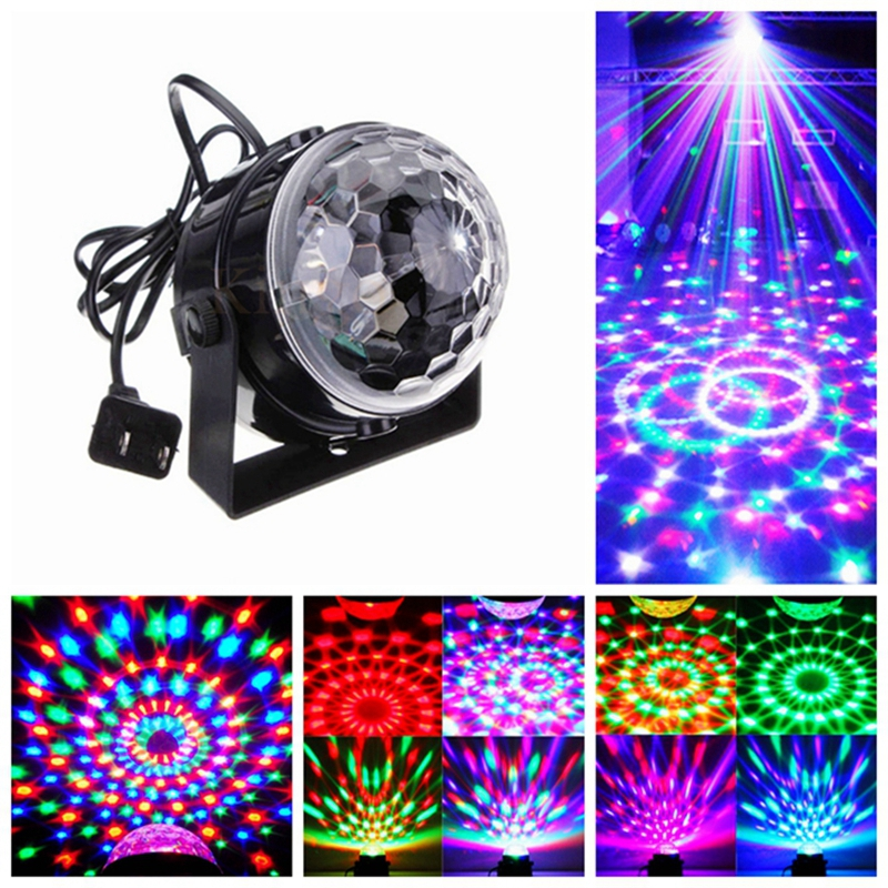 MINI Voice Control RGB LED Stage Lamps Crystal Magic Ball Sound Control Laser Stage Effect Light Home Party Disco Club DJ Lights e27 3w led stage lamps auto rotating rgb projector crystal magic ball laser stage effect light party disco ball club dj lights