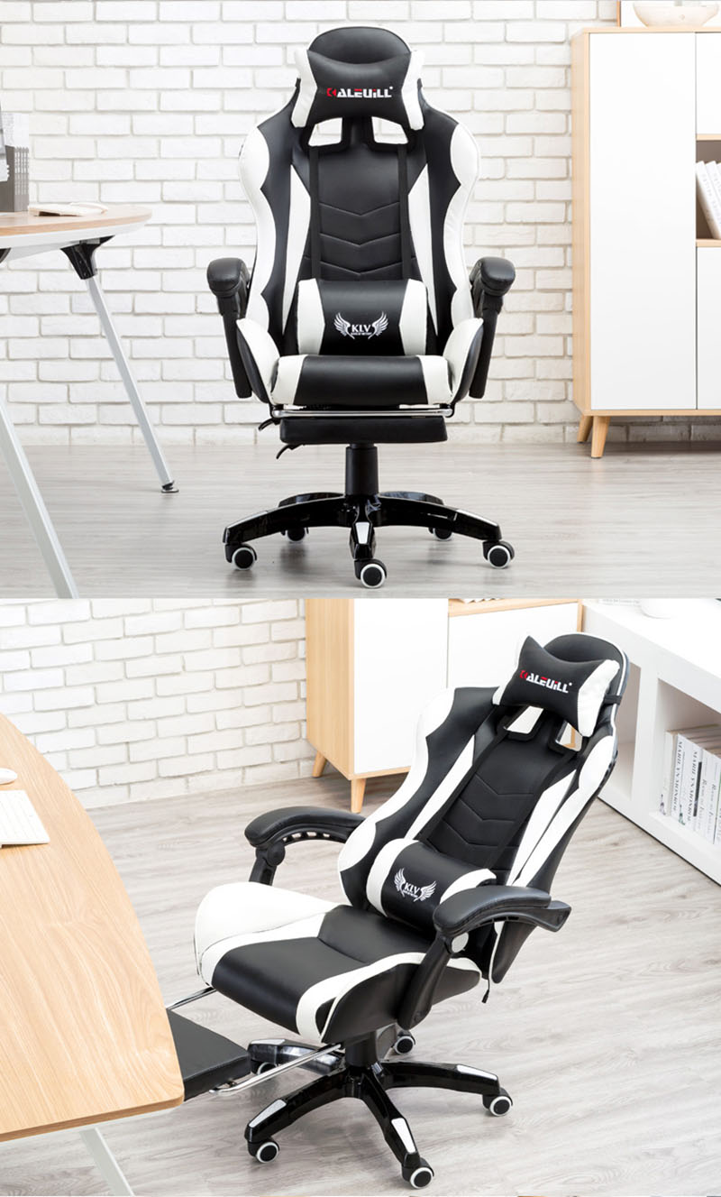 Foldable Office Chair Racing Synthetic Soft Leather Cyber Games Chair Internet Cafes Computer Chair Lying Household Office Chair With Footrest Seat