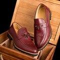 Oficina de negocios de ocio de los hombres respirables bullock shoes slip-on de la borla de oxford de cuero de vaca pisos zapato caballero mocasines Masculinos