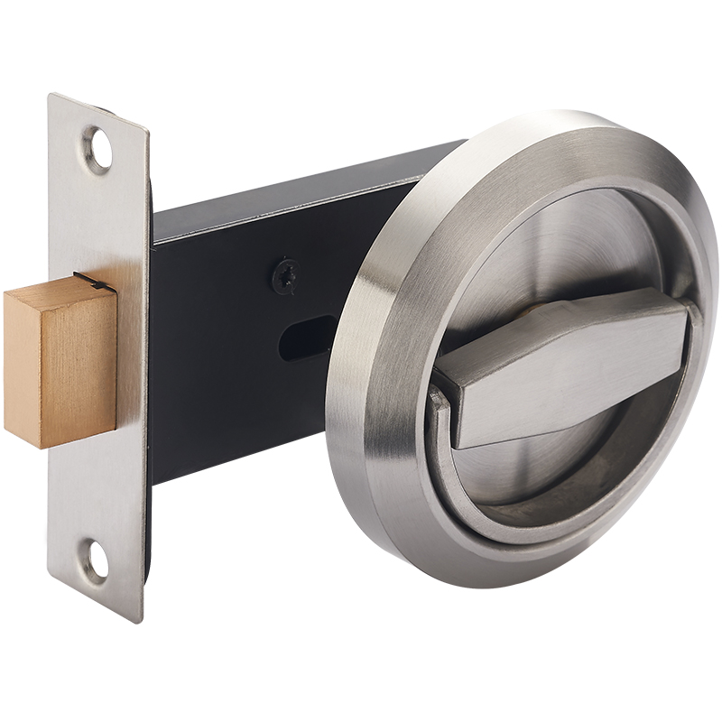 Stainless Steel 304 Recessed Invisible Cup Handle/ Privacy/Hidden Door Lock Fire Proof Disk Ring Lock No Key bronze stainless steel 304 recessed cup handle privacy sliding door locks house lock door handle with lock kf423