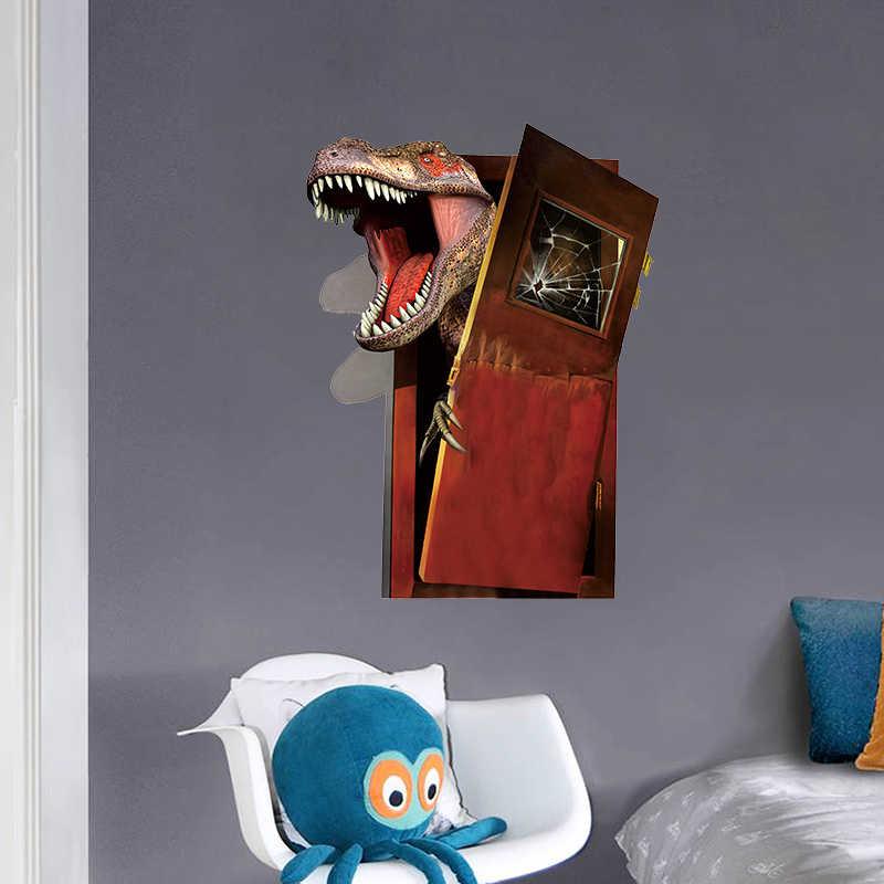 3D эффект динозавра Break дверь наклейки на стену для детской комнаты или спальни домашний Декор ПВХ Наклейка на стену 45*60 см Фреска тропические украшения