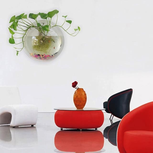 Behokic 15cm Diameter Mini Acrylic Round Fish Bowls Wall Mounted Hanging Aquarium Tank Aquatic Pet Flower Plant Vase Fishbowl
