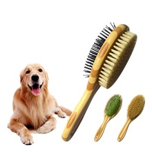 Professional Pet Dog Fur Hair Comb Pets Double Sided Pin & Bristle Bamboo Brushes Dogs Cats Puppy Clean Grooming Brush