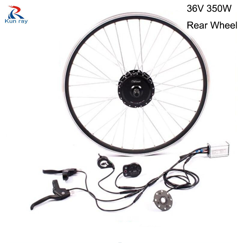 E bike rear wheel motor 36V 350W bycicle Gear Brushless Hub Motor Mountain Electric bicycle Motor Kit for 16-28 electric bike 10inch 350w 36v brushless non gear hub motor with vacuum tire electric scooter kit electric bike kit without front tire