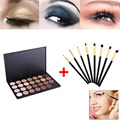 28 Cores Neutral Quente Eyeshadow Palette Sombra Make Up Kit + 8 pcs Eye Foundation Blending Pincel