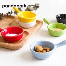 Pandapark твердое пигментированное керамическое Уксусное блюдце с ручкой маленькое блюдо для суши соевого соуса изысканные тарелки для приправ PPM038