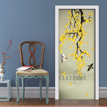 PVC Self-adhesive Door Sticker Hand-painted Pen Flower Waterproof Wallpaper Mural Living Room Bedroom Door Home Decor 3D Decals
