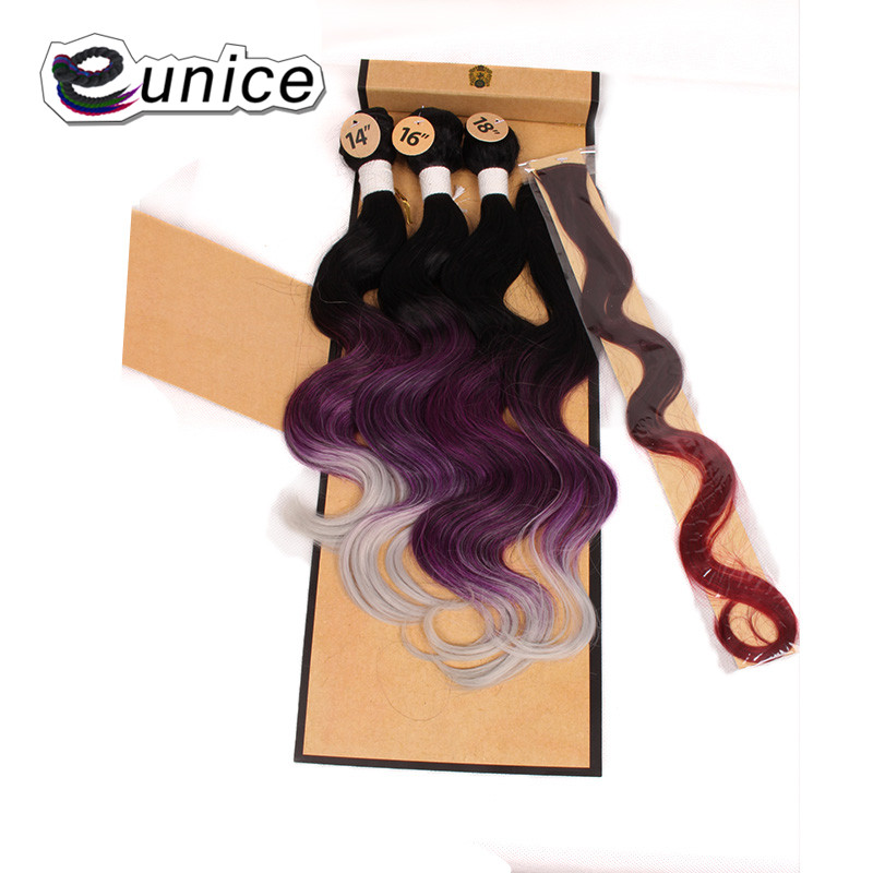 Synthetic Hair Extensions With One Closure Natural Body Wave Weft Hair Weaving Ombre Hair Weave  (23)