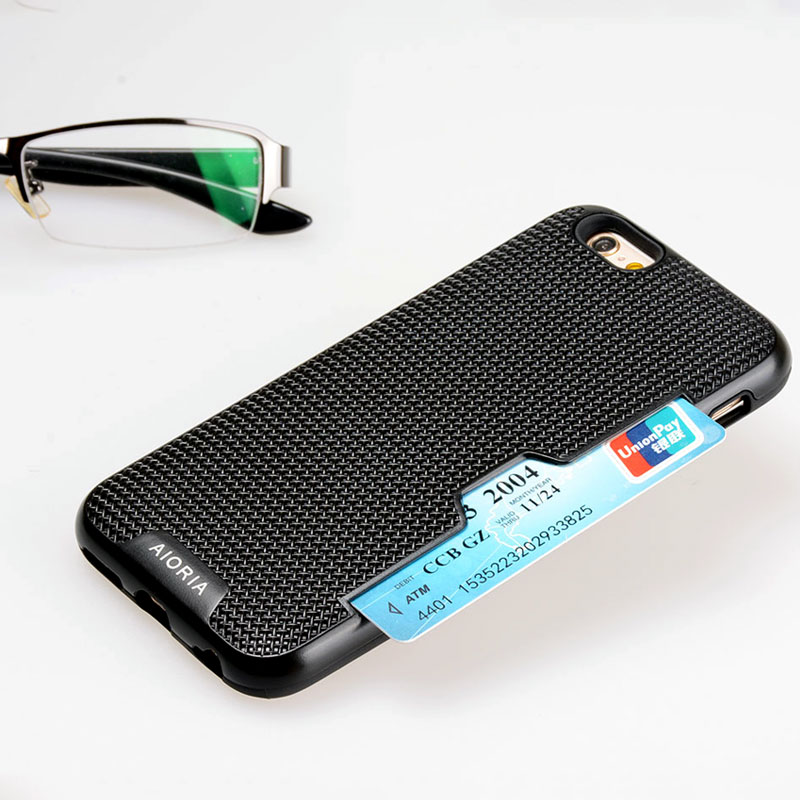 AIORIA Shockproof case for iPhone 6 6S credit card slot design Textile Style PC with Flexible Thick TPU Material covers
