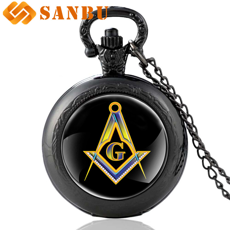 Vintage Black Masonic Quartz Pocket Watch Vintage Men Women Free And Accepted Masons Pendant Necklace Watches