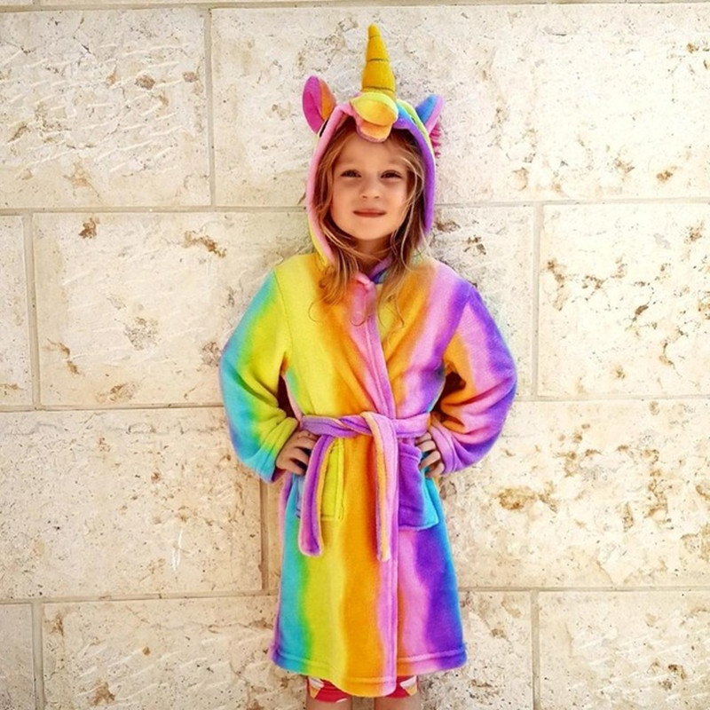 Bathrobe for girls Pajamas Baby Bath Robe Enfant Rainbow Unicorn Pattern Hoodies Robes Kids Sleepwear kids Animal Cartoon Robes