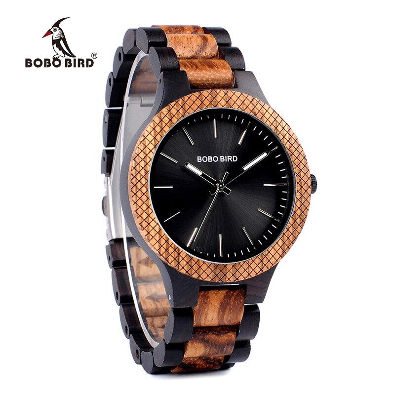 Бобо птица Ebony деревянные наручные часы Дерево ремень Аналоговые кварцевые часы в коробка подарков erkek коль saati