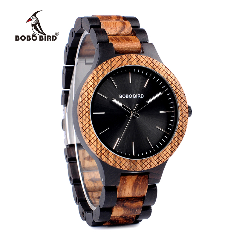 BOBO BIRD Ebony Wooden wrist Watch Wood Strap Quartz Analog watches in gifts box erkek kol saati bobo bird wh05 brand design classic ebony wooden mens watch full wood strap quartz watches lightweight gift for men in wood box