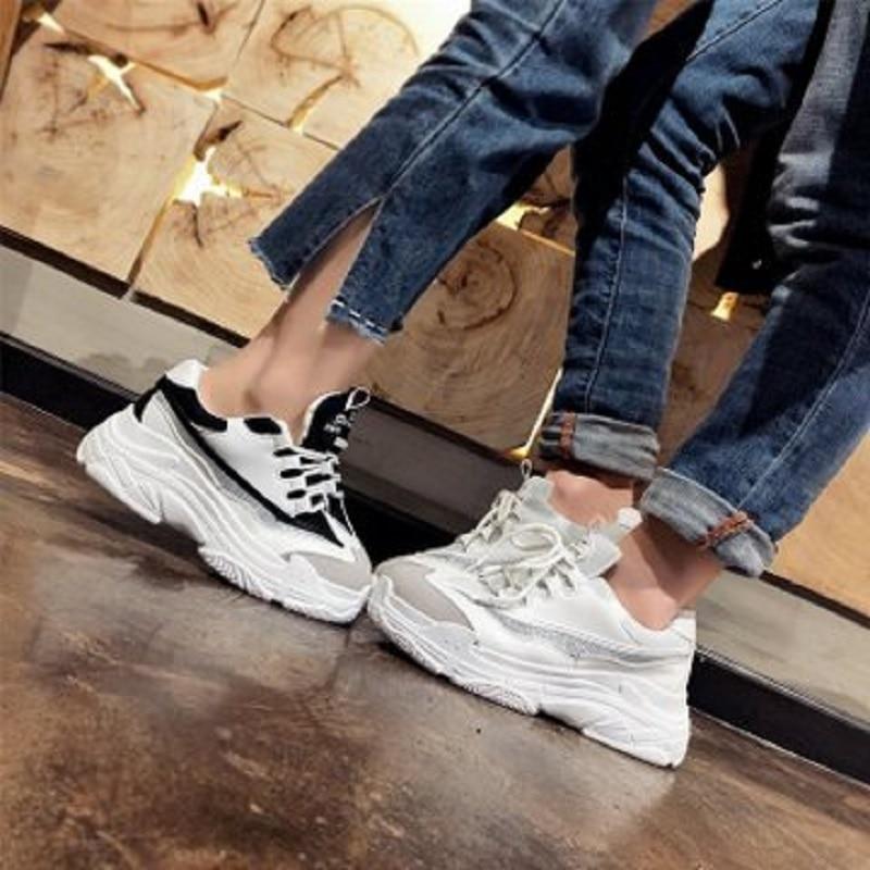 2019 nouvelle mode chaussures pour femmes Dames chaussures décontractées Haute Plate-Forme des Femmes chaussures blanches Sneakers grande taille