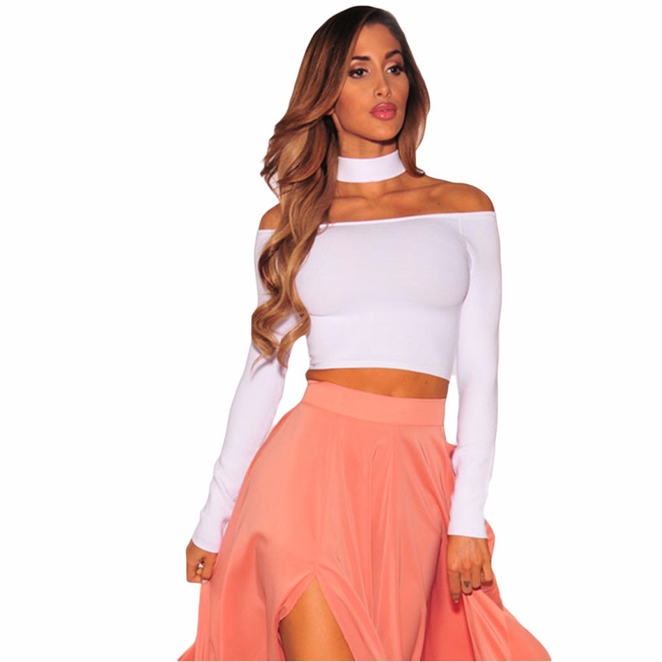 White-Sleeved-Off-Shoulder-Choker-Crop-Top-LC25870-1-1