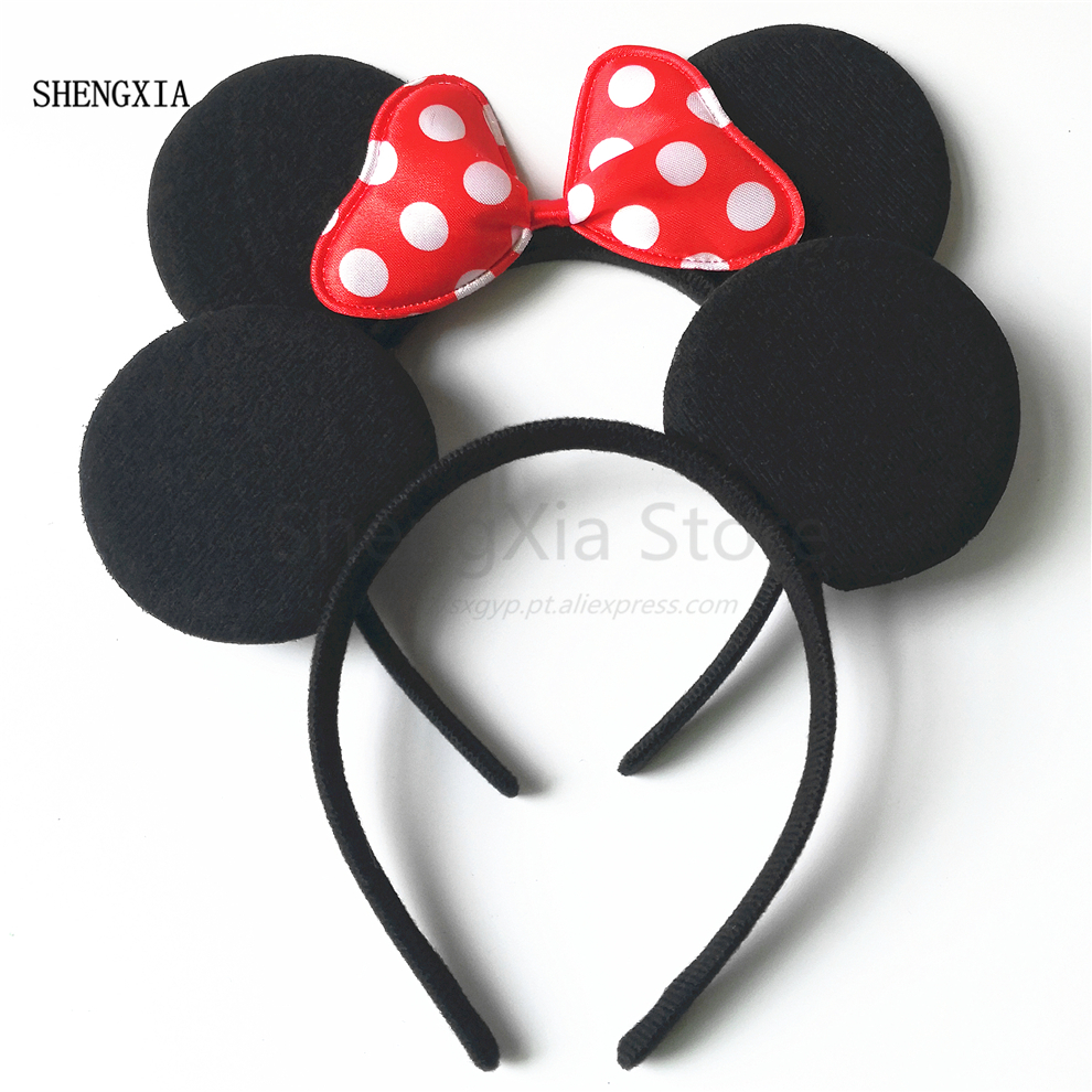 Mickey Minnie Cute Mickey Mouse Headband Black Ear Headband Bow Hair Accessories For Birthday Party Celebration
