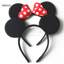 Mickey Minnie Cute Mouse Headband Black Ear Bow Hair Accessories for Birthday Party Celebration