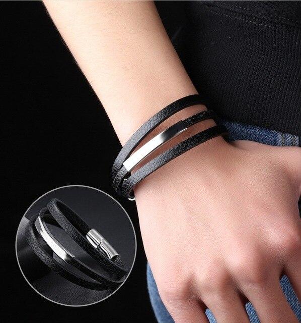 Купить модный многослойный кожаный браслет с магнитной пряжкой из титана